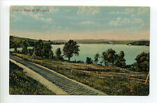 Canada, New Brunswick, View of River at Westfield, tiny steamer, railroad tracks