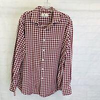 Southern Pines Men's XL Shirt Red White Checks Plaid Button Long Sleeve #V