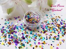 NAIL Art grosso * GARLAND * VIOLA ORO NATALE STELLA DOT Spot Glitter Spangle MIX Pot