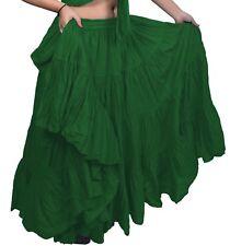 "Green American Tribal Gypsy 25 YD (approx. 22.86 m) yarda danza del vientre falda folk de algodón L36"""