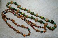 VINTAGE MULTI COLOR NUT & SEED BEADED LONG BOHO NECKLACE LOT
