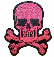 PINK TATTOO SKULL X BONE EMBRODIERED PATCH P6430 biker SCULL AND CROSS BONES new