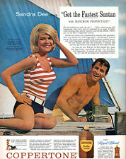 Sandra Dee TAMMY AND THE DOCTOR Coppertone Suntan Lotion 1963 Magazine Print Ad