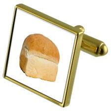 Baker Loaf Bread Gold-Tone Cufflinks Crystal Tie Clip Gift Set