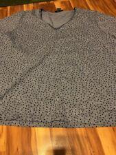 C. D. Daniels Womens Plus Size 2X  Blouse Woven Chambray Polka Dot Pullover