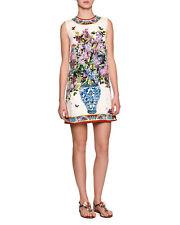 New Dolce & Gabbana Charmeuse Floral Vase Printed Mini Dress White Multi 44/10