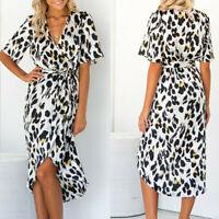 Fashion Women Leopard V Neck Lace Up Wrap Dress Ladies Evening Party Midi Dress