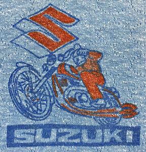 Vintage 60s 70s SUZUKI MOTORCYCLES Long Sleeve Thermal T SHIRT Biker Men Small S