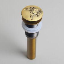 Sculpture Antique Brass Overflow Basin Sink Vessel Assembly Brass Pop up Drain g