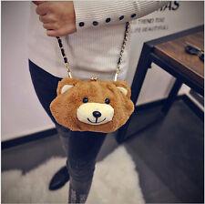 Lolita Girl Brown Bear Head Soft  Bag Cute Plush Toy Sling Shoulder Bag Purse