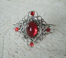 Red Cuff Bracelet, victorian renaissance medieval art nouveau art deco tudor