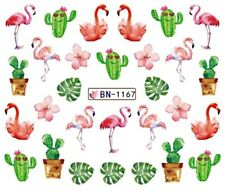 Nail Art Stickers Water Decals Transfers Pink Flamingos (BN1167)