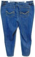 W62 blue denim embroidered signature women's plus size ankle jeans 22