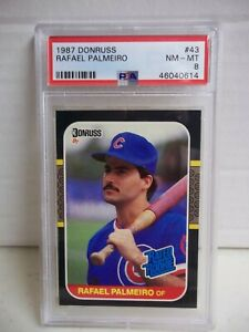 1987 Donruss Rafael Palmeiro RC PSA NM-MT 8 Card #43 MLB Chicago Cubs