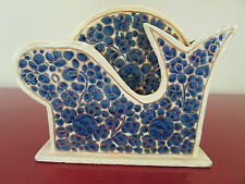 Hand Painted Whale Blue Gold Flower Ethnic Crafts Bahrain Six 6 Coasters Holder