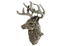 """(#255) DEER HEAD Pewter Vest / Hat Pin 1.5"""" x 2"""" BUCK (A296)"""