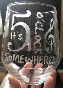 Stemless Wine Glass - 5 O'clock Somewhere - Personalised