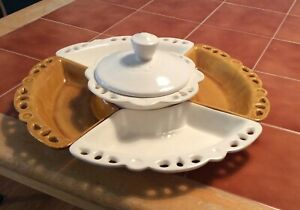 Vintage Mid Century Lazy Susan And Turntable Pottery Snack Tray Made in USA Yellow White Centerpiece