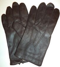 Mens 100% Cashmere Lined Leather Gloves,Brown,Large