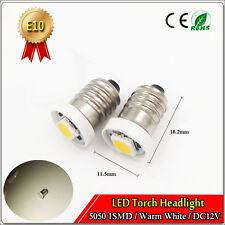 2x E10 Screw led flashlight bulbs torch light 5050 1 SMD Warm White 4300K DC 12V