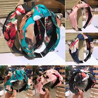 Cute Fashion Womens Girls Bowknot Wide Hairband Headband Silk Hair Accessories