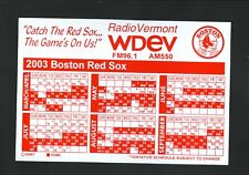 Boston Red Sox--2003 Magnet Schedule--WDEV