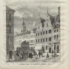 Stampa antica COPENAGHEN Mercato Amac Casa Divecke 1872 Old Antique print