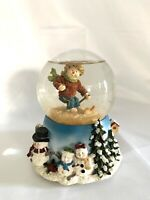 "Vtg HERCO Gift Professional ""Merry Christmas "" musical Snow Globe Skiing 5.8"""