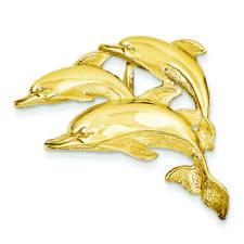14K Yellow Gold Triple Dolphin Charm Omega Slide Pendant MSRP $1004