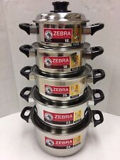 10Pcs/Set Zebra Stainless Steel Pot with Lid 3 Layered Bottom 16 - 24 CM - New!