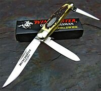 Winchester 3 Blade Stockman Stag Handles Traditional Folding Pocket Knife NEW