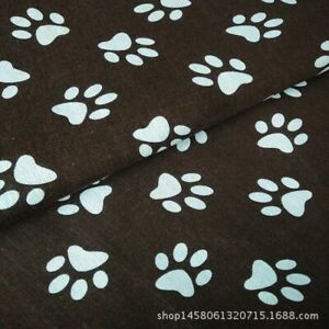 50*150cm Cotton Linen Fabric DIY Home Deco Material White Dog Paws Brown Base B#
