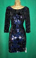 New MONSOON Uk 8 16 SAMANTHA Dark Blue Sequin Velvet Party Evening Shift Dress