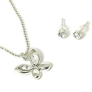 The Olivia Collection Rhinestone Set Butterfly Necklace & Stud Earring Set