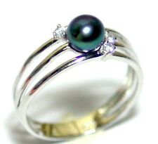 Beautiful Blue Black Round Akoya Sea Water Cultured Vintage Ring Size 7