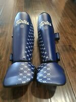 Fairtex SP5 Competition Shin Guards Blue L Large Muay Thai Kick Boxing MMA Read