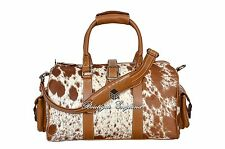 Femmes Luxe Medium Tan Vache Fourrure de Vache Véritable Hide Leather Weekend Holdall Sac