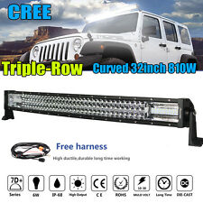 7D Tri-Row 810W CREE 32Inch Curved LED Work Light Bar Flood Spot Truck Boat 30""
