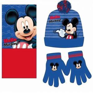 Boys Toddler Disney Mickey Mouse Fleece Winter Hat Snood Gloves Beanie Hat Scarf