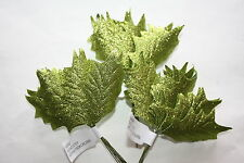 36 x MEDIUM GREEN GLITTER HOLLY LEAVES 60mm WIRED STEMS CHRISTMAS CRAFT