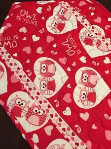 Handcrafted - Quilted Table Runner - Owl Lovers Take Note - Valentine's Day
