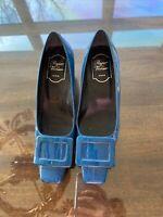 roger vivier shoes Size 36.5 Buckle Low Heel. Peacock Blue