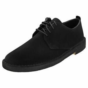 Clarks Originals Desert London Mens Black Suede Suede Desert Shoes