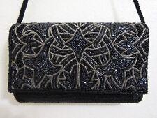 Vintage Black MAGID GeoMetric BEADED Evening Purse/Clutch Bag With Strap  #E23