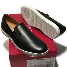 Ferragamo Black Leather Trainers 8 D 41 Men's Skate Casual Loafers Slip-on Shoes