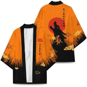 Japan Anime Printed Kimono Uzumaki Naruto Men's Casual Coat Jacket Cardigan robe