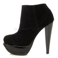 Womens ladies platform high heel zip smart ankle shoe boots booties size
