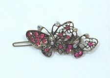 Bejeweled Butterfly Hair barrette antiqued Gold tone Hot Pink