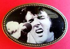 """Elvis Presley """"King Of Rock & Roll"""" Epoxy Photo Music Belt Buckle - New!"""