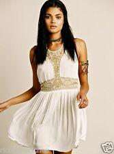 NEW  Free People IFP ivory Embellished Beaded Mesh Provence Slip Dress M